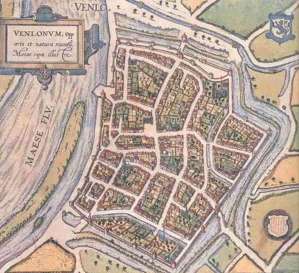 De oudste complete plattegrond van Venlo circa 1575 met alleen nog de ...